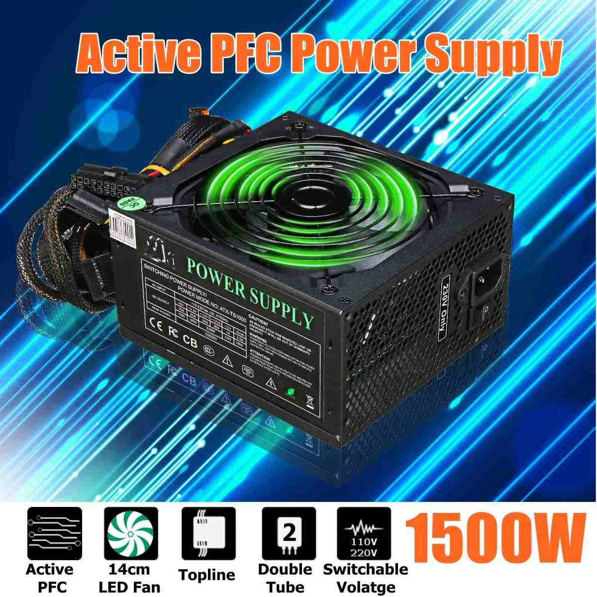 LEORY 1500W PC alimentation PSU actif PFC 24Pin SATA LED hydraulique 140mm ventilateur 80 Plus ordinateur alimentation pour BTC