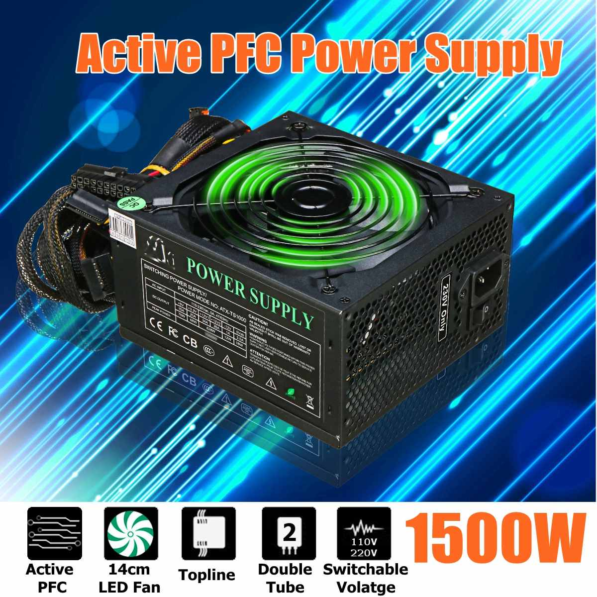 LEORY 1500W PC PSU Power Supply Active PFC 24Pin SATA LED Hydraulic 140mm Fan 80 Plus Computer Power Supply For BTC