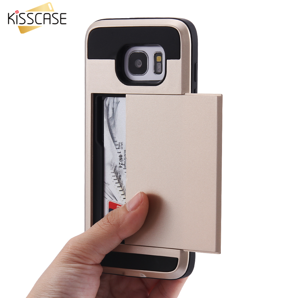 KISSCASE Калъф за броня за притежател на карти за Samsung Galaxy S8 S9 S10 Shockproof Coque за Samsung S9 Plus Note9 S8 Plus S7 Edge