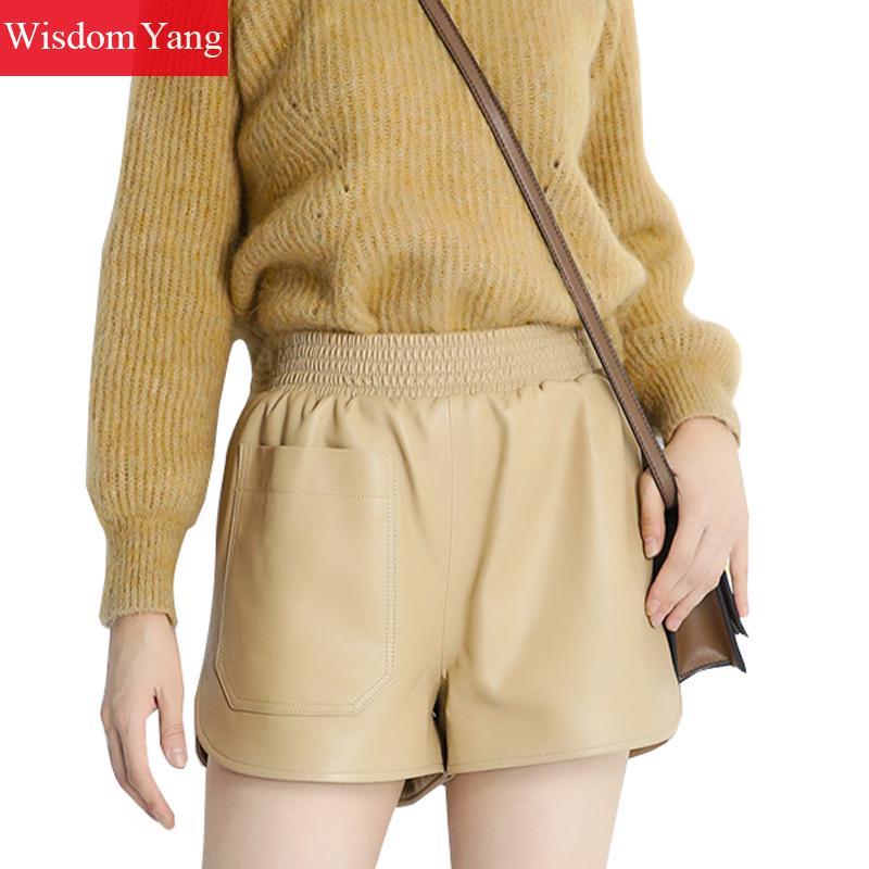 Shorts Women Flare-Trousers Spring Elastic Wide-Leg Black High-Waist Genuine-Leather
