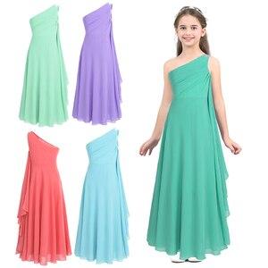 Image 2 - Kwiat dziewczyny sukienka szyfonowa sukienka Rhinestone dzieci dziewczyny jedno ramię dla księżniczki na konkurs piękności druhna ślubna sukienka na przyjęcie urodzinowe