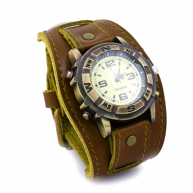 Men Women Bracelet Watch Punk Vintage Cow Leahter Alloy Wristwatch Casual Watches Gift LL@17