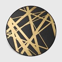 3D colored starry sky Fashion rug Europe Golden cross lines Hanging basket Round carpet Non-slip mat velvet printing floor