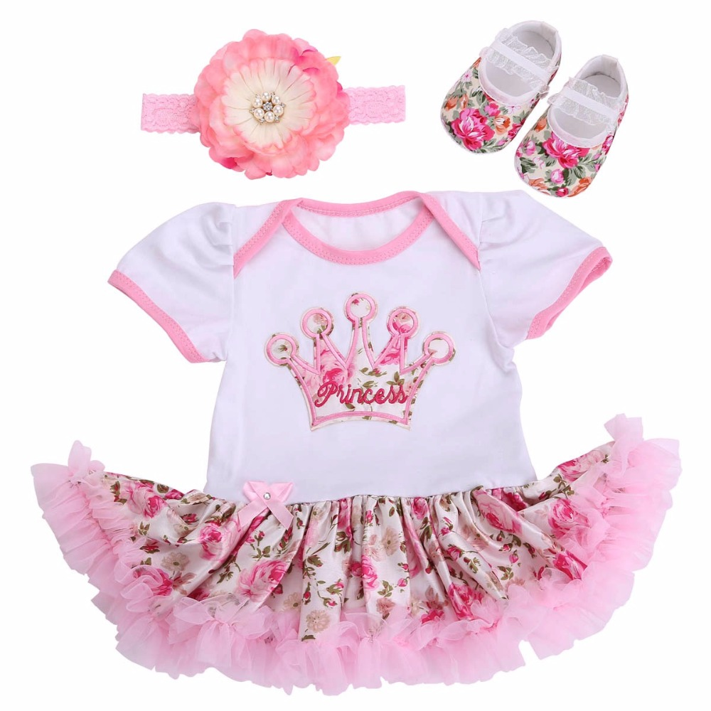 Boutique Newborn Baby Girl Clothes Shoe Headband Set