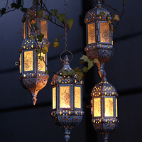 Home Decor Vintage Metal Hollow Glass Moroccan Hanging Tea Lights Holder Decorative Lantern Matching Block Candle