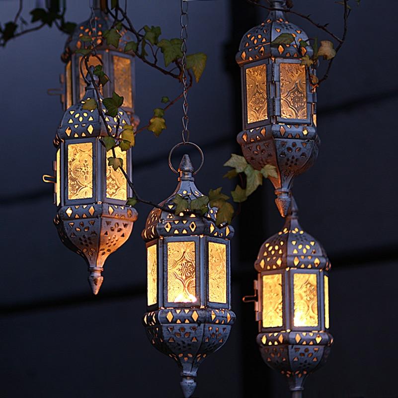 Home Decor Vintage Metal Hollow Glass Moroccan Hanging Tea Lights Holder Decorative Lantern Matching Block Candle Small Tealight