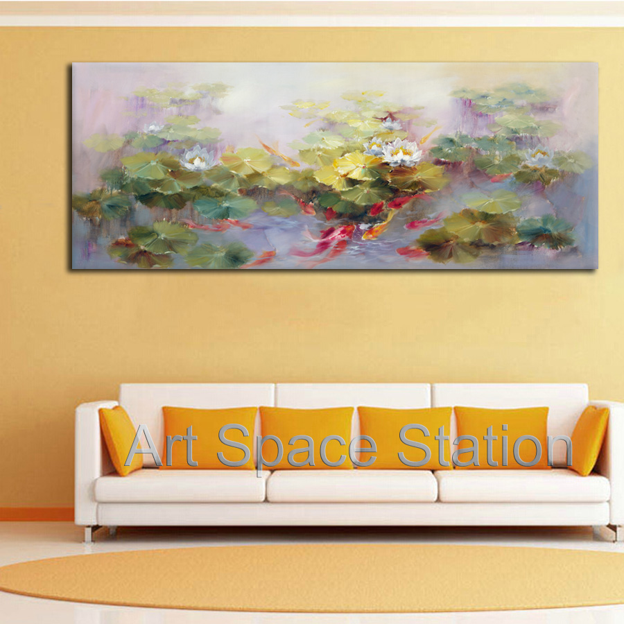 Large Canvas Painting Feng Shui Art Chinese Koi Fish Oil Painting ...