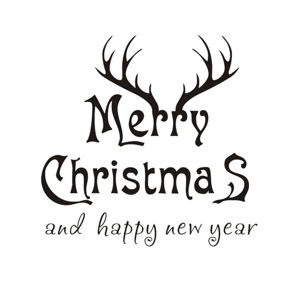 Merry Christmas And Happy New Year PVC Wall Stickers Black ...