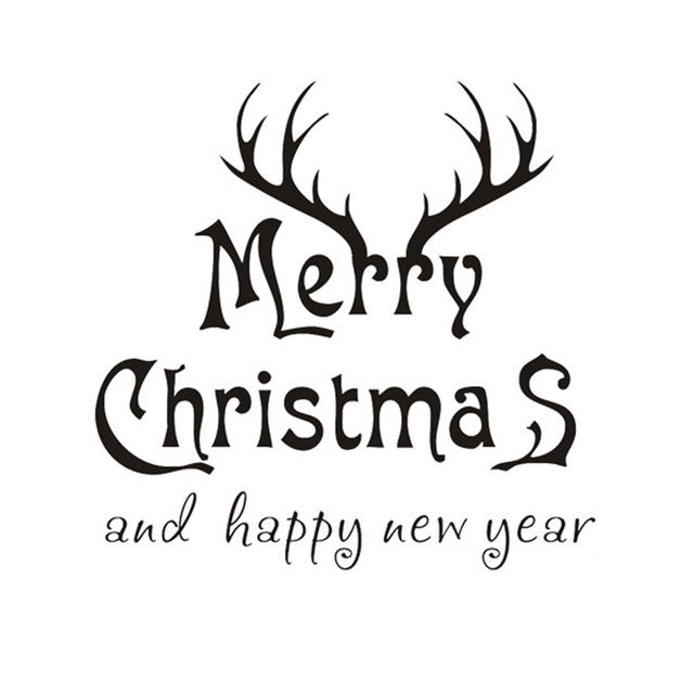merry christmas and happy new year pvc wall stickers black white red baby wall decals antlers