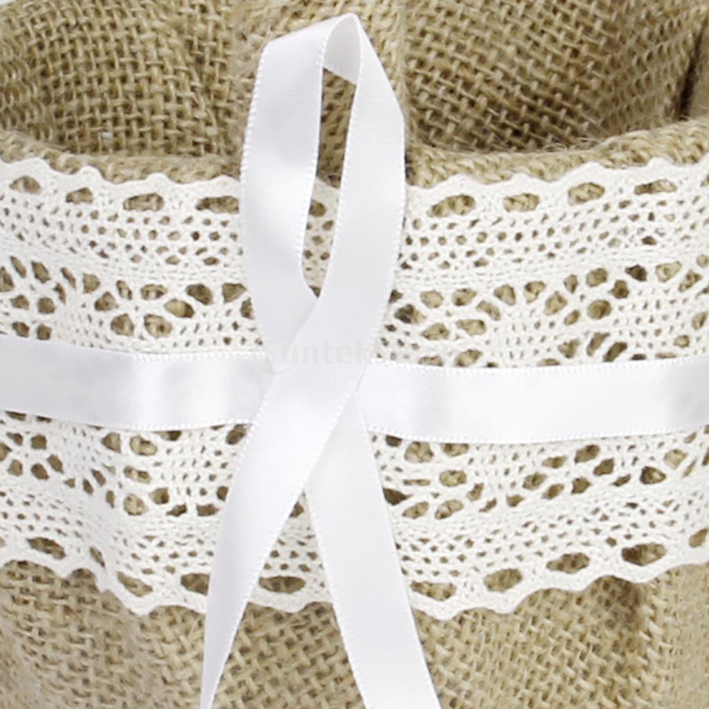 2x Vintage Flower Girl Basket Burlap Lace Ribbon Decor Rustic ...