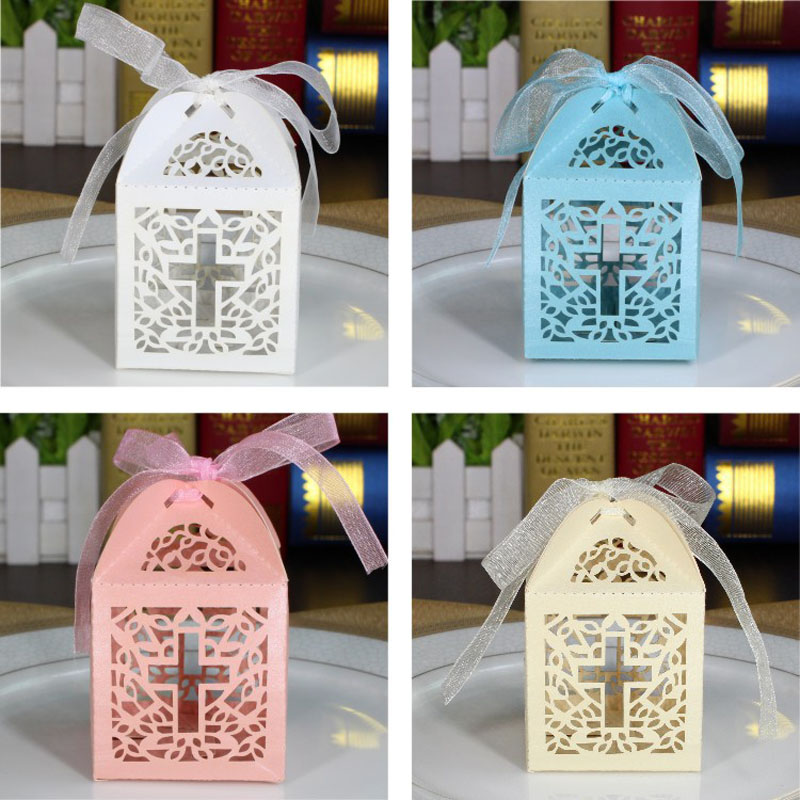 50pcs Crosses Candy Boxes Wedding Candy Box Baby Shower Gift Boxes