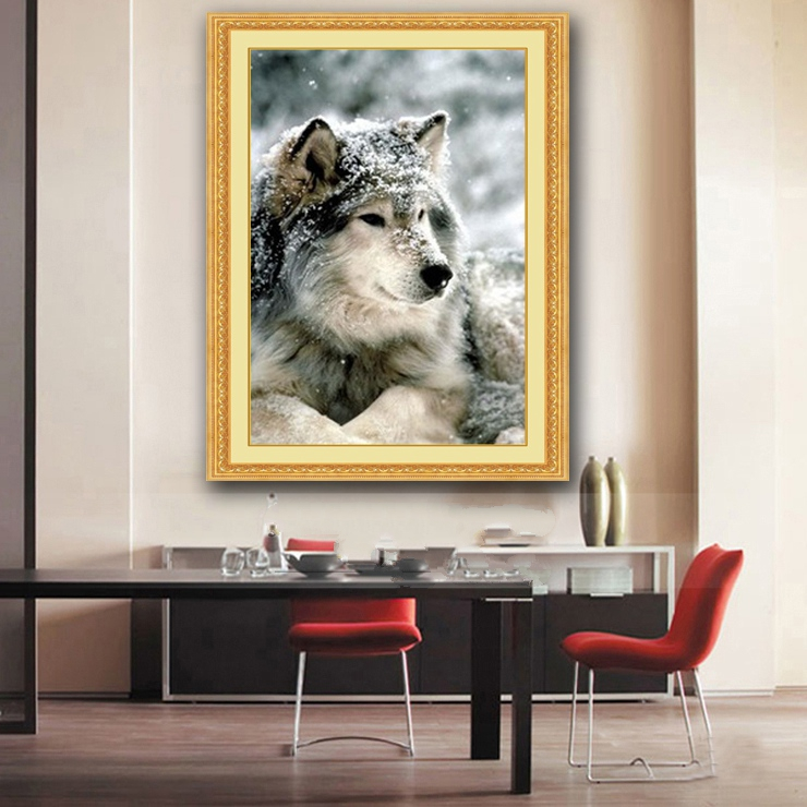 Needlework,for embroidery,DIY DMC 14CT Unprinted Cross stitch kits Wolf in the snow Animal Art Cross-Stitching home decor craftsNeedlework,for embroidery,DIY DMC 14CT Unprinted Cross stitch kits Wolf in the snow Animal Art Cross-Stitching home decor crafts