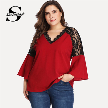 Sheinside Plus Size V-neck Contrast Lace Blouse Women Burgundy Long Sleeve Top 2019 Flare Sleeve Womens Tops Elegant Blouses 5xl