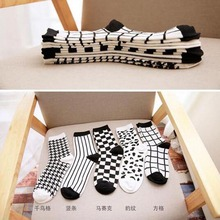 Black and white pattern cotton socks for male men s sports and leisure socks fashion socks