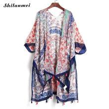 Summer Cardigan Womens Vintage Blusas mujer Printed Shawl Blouse Shirts Chemise Femme Boho Cardigan Feminino Short Sleeve Tops