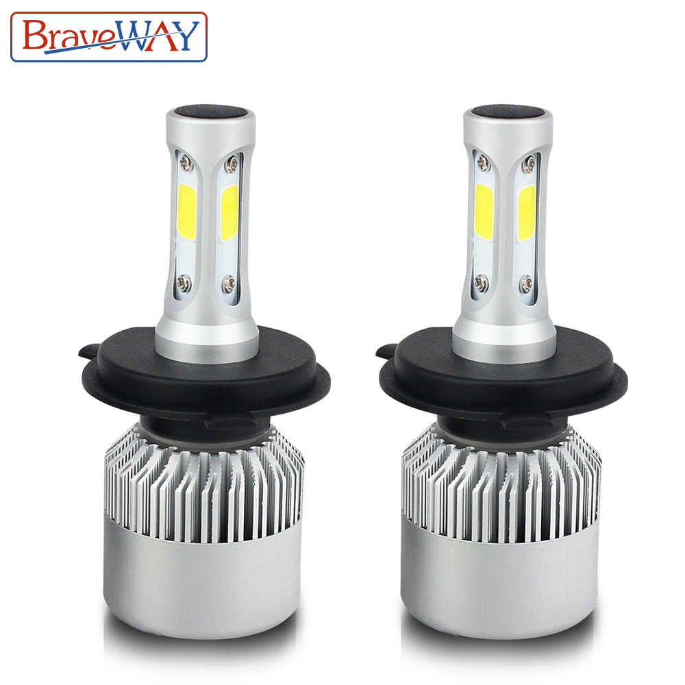BraveWay 2PCS 6500K H4 LED H7 HB4 H13 9007 9005 HB3 Auto S2 Car Headlight Bulbs 72W 8000LM Car Styling LED automotivo
