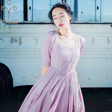 YOSIMI 2018 Summer Vintage Cotton and Lace Long Women Dress Tunic Prairie Chic Style Purple Women Dress Mid-calf Evening Party