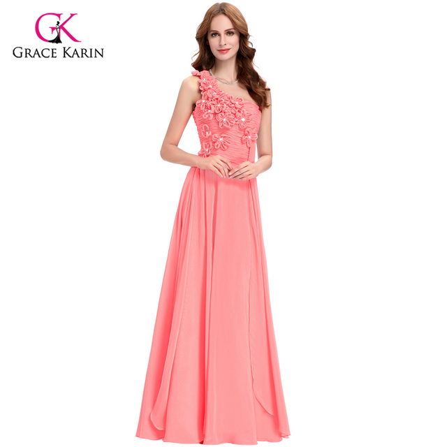 a7f360c24df3 Grace Karin Elegant Long Evening Dresses Pink White Turquoise 2018 new  arrival One Shoulder Chiffon Formal Gowns Dresses 4526
