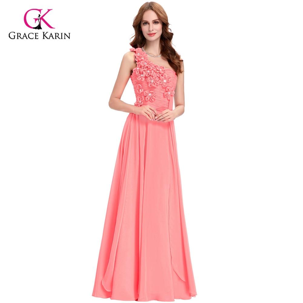 ヾ(^▽^)ノGracia Karin largo elegante Vestidos de noche Rosa Blanco ...