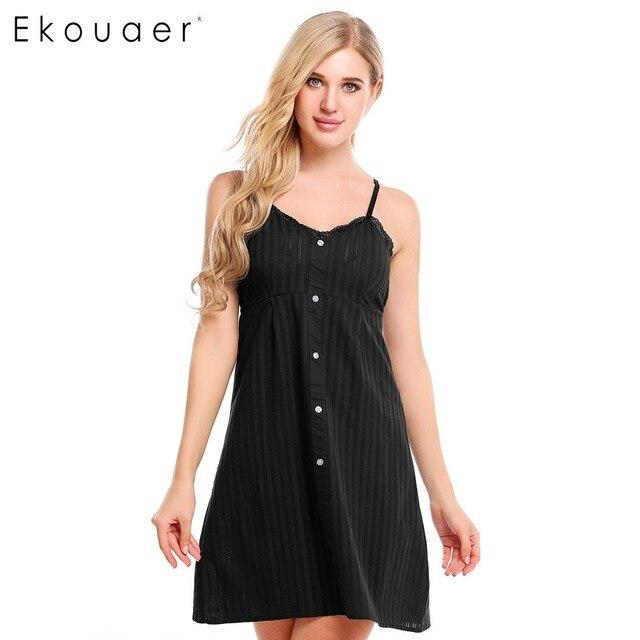 Ekouaer Women 100% Cotton Stripe Sleepwear Summer Button Adjustable  Spaghetti Strap Nightwear V-Neck Sleeveless Lace Nightgown e3b2797d1