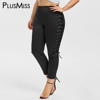 PlusMiss Plus Size 5XL Sexy Lace Up Skinny Capri Leggings High Waist Jeggings Big Size Women Legins Crop Leggins XXXXL XXXL XXL