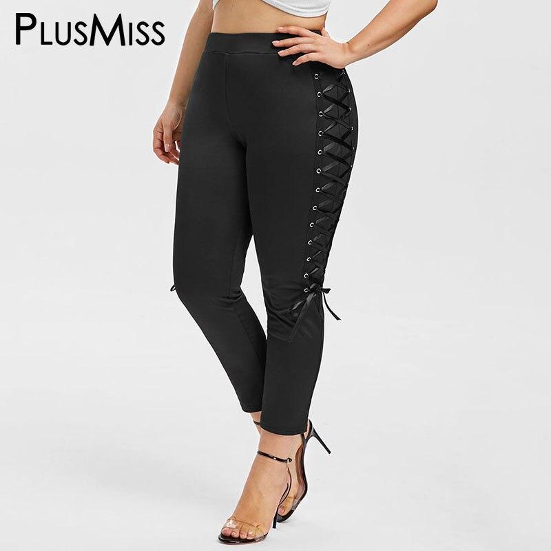 PlusMiss Plus Size 5XL Sexy Lace Up Skinny Capri Leggings High Waist Jeggings Big Size Women Legins Crop Leggins XXXXL XXXL XXL