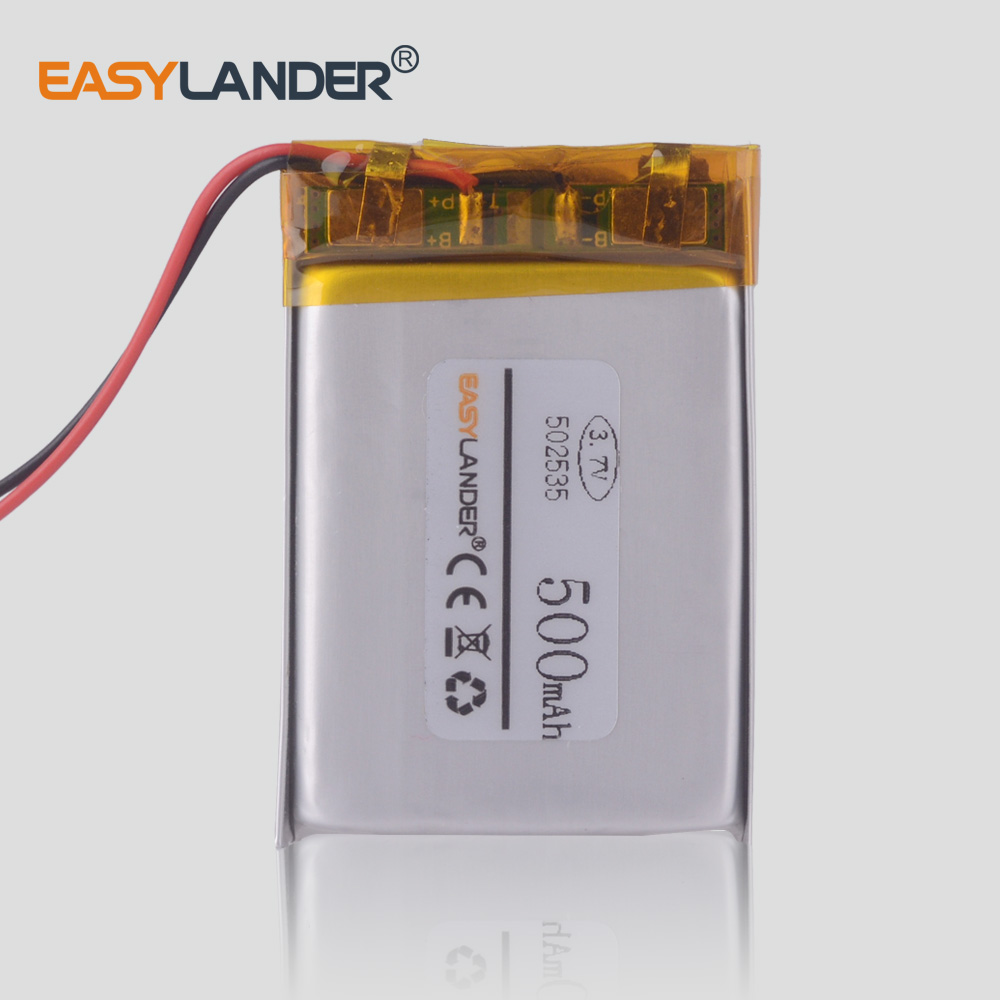 <font><b>3.7V</b></font> <font><b>500mAh</b></font> 502535 Lithium Polymer <font><b>Li</b></font>-<font><b>Po</b></font> <font><b>li</b></font> ion Rechargeable <font><b>Battery</b></font> cells For Mp3 MP4 MP5 GPS mobile bluetooth video recorder image