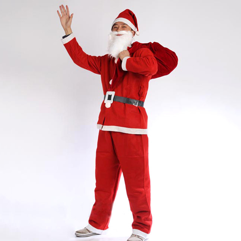 Wholesale/Retail Red Men Santa Claus Costumes Christmas Clothes Male Holloween Cosplay Xmas Suit With Top Belt Beard Hat Pants