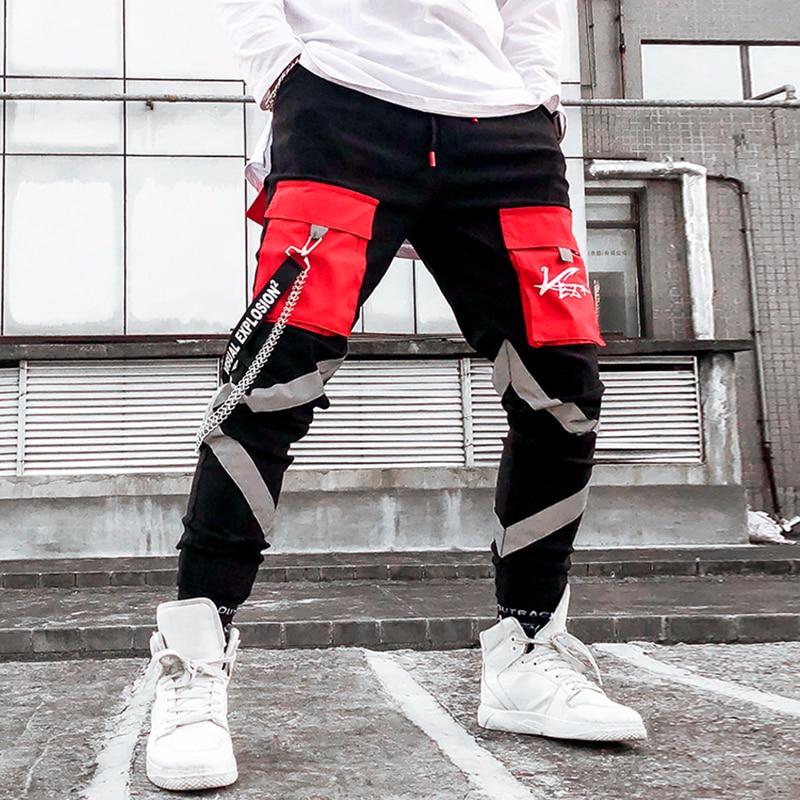 Metal Chains Reflective Pant Mens 2019 Hip Hop Men Ribbons Cotton Cargo Trousers Sweatpants Elastic Waist Harem Pant Men