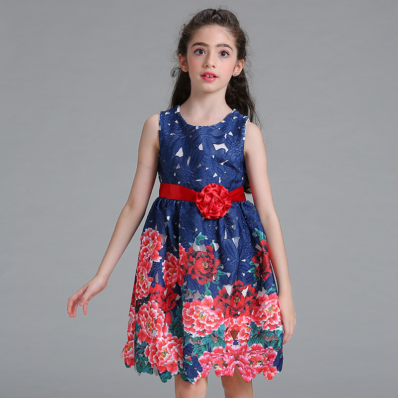 3-10 Summer New Rose Flowers Girls Dresses Birthday Party Child's Wear TuTu Girl Clothing Hollow Print Mesh Princess Kids Dress summer 2017 new girl dress baby princess dresses flower girls dresses for party and wedding kids children clothing 4 6 8 10 year