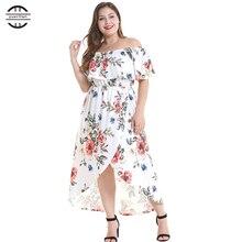 2019 New Spring Floral Print Ruffle Dress Sexy Slash Neck Big Size Women Dresses Casual Short Sleeve White Plus 4XL
