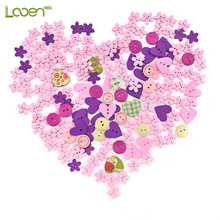 100 Pcs/lot Blulk Mixed 2-Hole Wooden Buttons Heart Pattern Decorative Fit Sewing DIY Scrapbooking Clothes Craft Tools