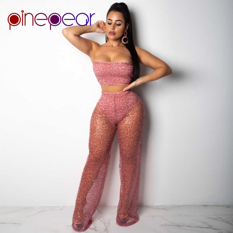 47a589467c76 PinePear Sparkly Sexy 2 Piece Set 2019 Women Strapless Crop Top + See  Through Pants Elegant