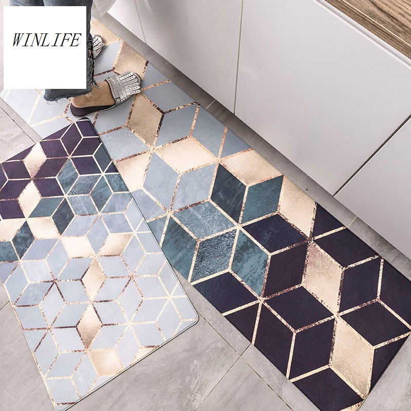 WINLIFE Geometric and Marble Printed Kitchen Floor Mat Anti-skid/Oil-proof/Waterproof <font><b>Rug</b></font> PVC <font><b>Leather</b></font> Material Carpets image