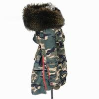 Maomaokong 100% natural de piel de mapache gran collar caliente larga chaquetas abrigo de invierno las mujeres parka de Camuflaje negro