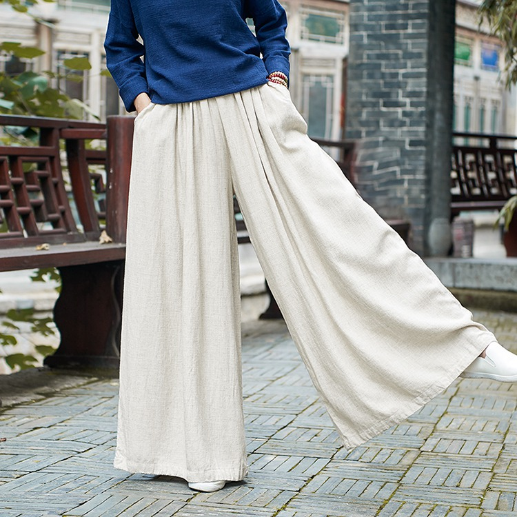 Solid Linen Elastic waist Women   Wide     leg     Pants   Plus size Loose Casual Vintage Long   Pants   Skirt Women   Wide     leg   Trousers B192