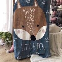 140 100CM Baby Blanket Newborn Soft Cartoon Fox Bear Blankets For Beds Winter Double Layer Kids