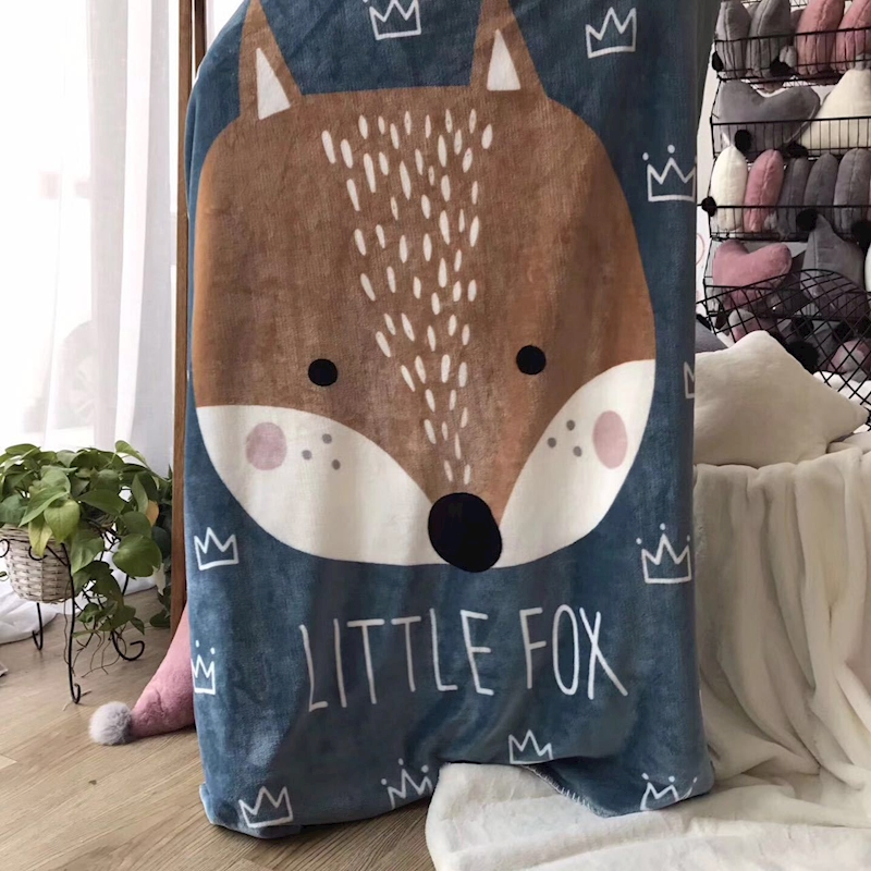 140*100CM Baby Blanket Newborn Soft Cartoon Fox Bear Blankets For Beds Winter double layer Kids Fleece Throw bedding blanket zhh warm soft fleece strip blankets double layer thick plush throw on sofa bed plane plaids solid bedspreads home textile 1pc