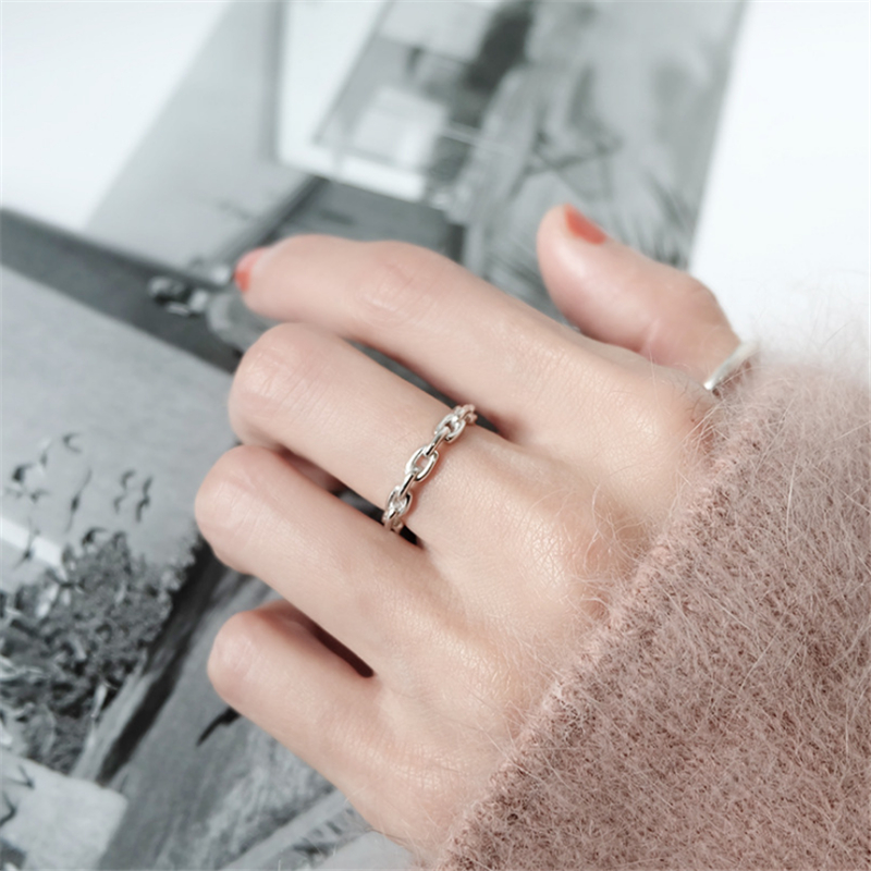 Genuine 100% 925 Sterling Silver Rings for Women Simple Link Chain Silver Ring Party Causal Vintage Jewelry Dropshipping 2