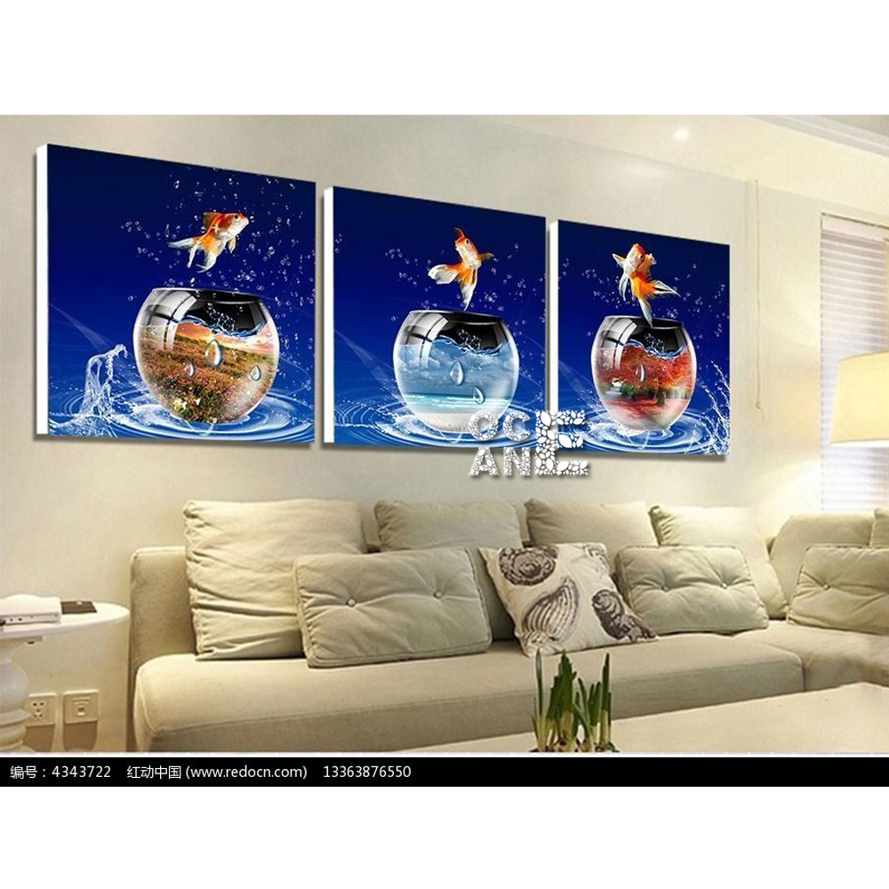 Fish tank painting - Fish Tank Triptych Mosaic Diamond Embroidery Ocean Animal Diy Diamond Painting Cross Stitch Home Decor Full