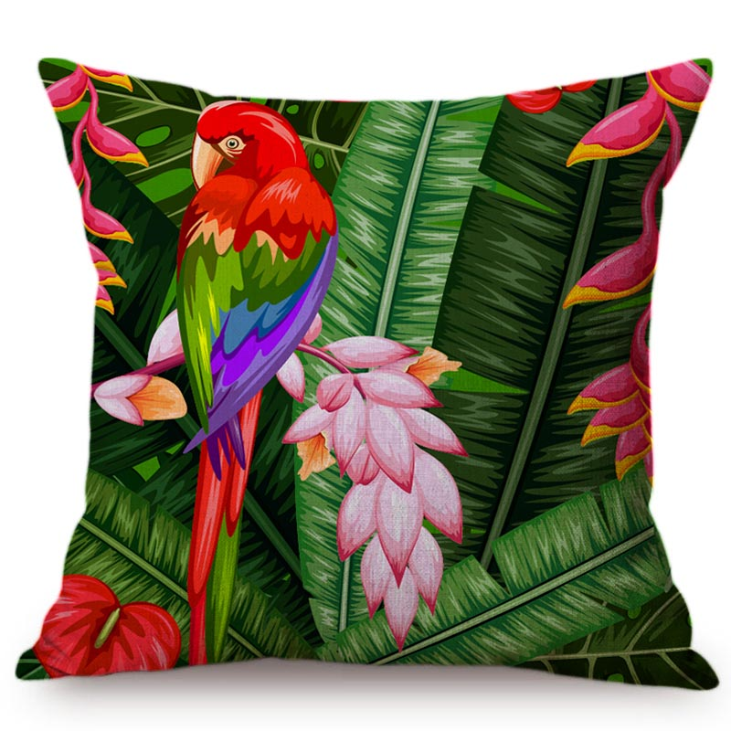 Тропические джунгли растение наволочка фламинго украшение для дома подушка для автомобиля-чехол пальмовый лист Тукан попугай мягкие наволочки