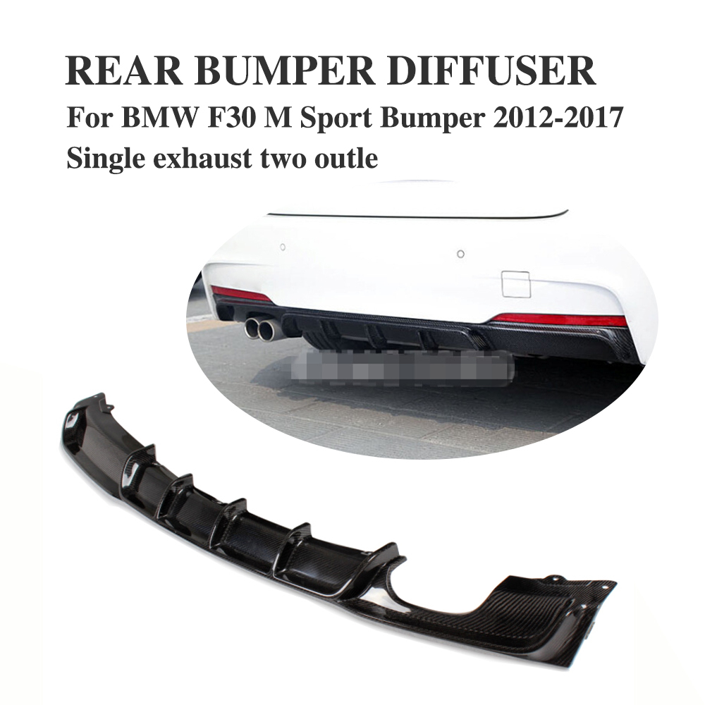 Carbon Firber / FRP Rear Bumper Diffuser Lip Spoiler For BMW F30 M Sport bumper 2012-2017 single exhaust Two Outlet 5 series carbon fiber rear bumper lip spoiler diffuser for bmw f10 m sport sedan 2012 2016 d style grey frp dual exhaust two out