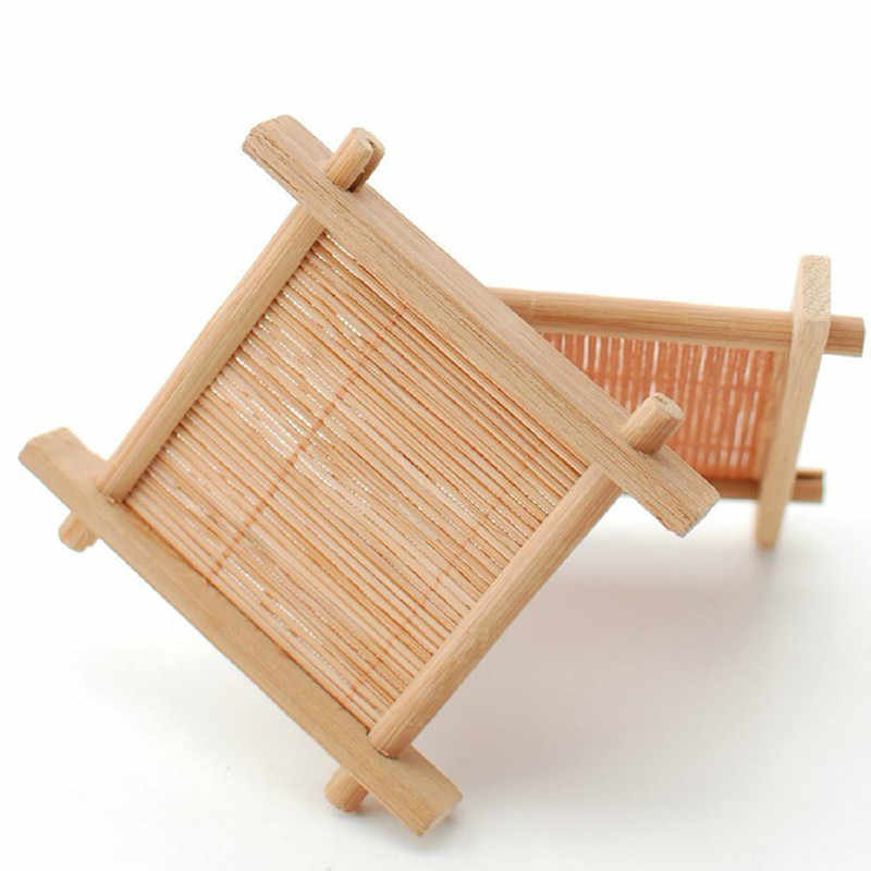 Natuurlijke 6 pc 100% Bamboe Hout Trays Voor Thee Trays 7 cm * 7 cm Creatieve Chinese Woord Jing Concave cup Mat