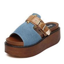 Women sandals 2016 summer slippers fashion denim buckle  wedges platform vintage women's shoes F8965