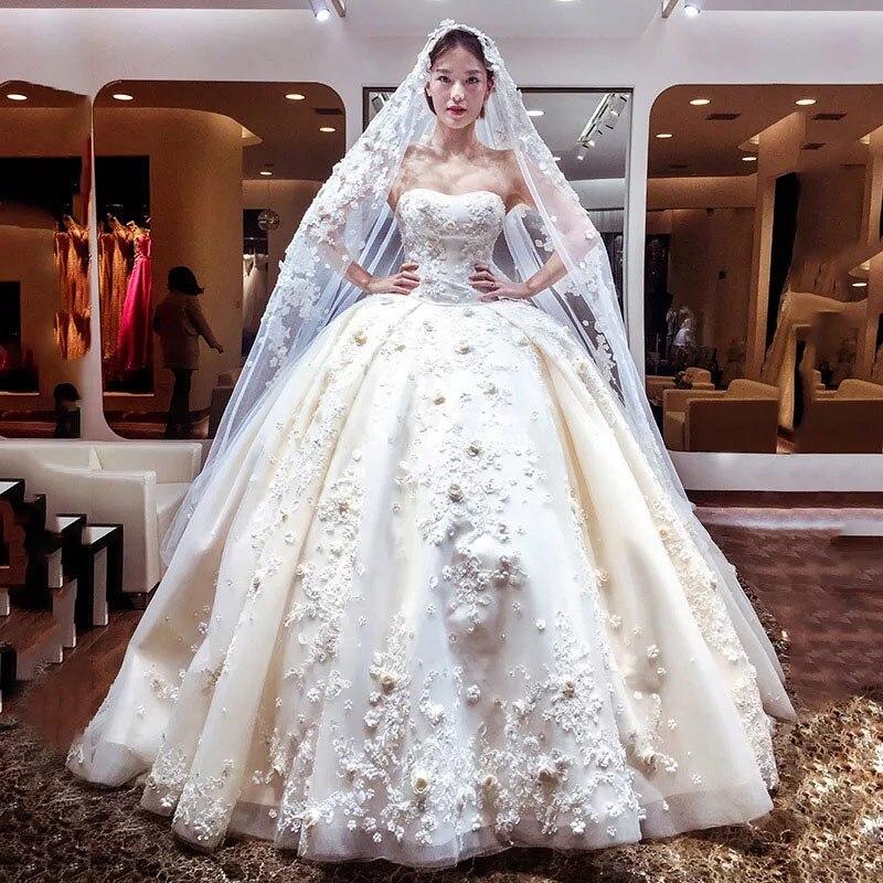 Wedding Gown Veil: Luxury 3D Applqieus Wedding Dresses Free Veil Petticoat