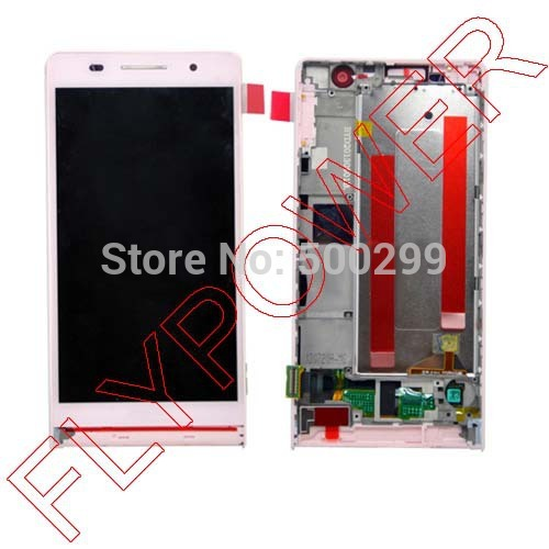 For Huawei Ascend P6 LCD Display with Touch Screen Digitizer +Frame in Black and white Color by free shipping 6 0 lcd display digitizer touch screen with frame for huawei ascend mate 7 mt7 white black gold free shipping