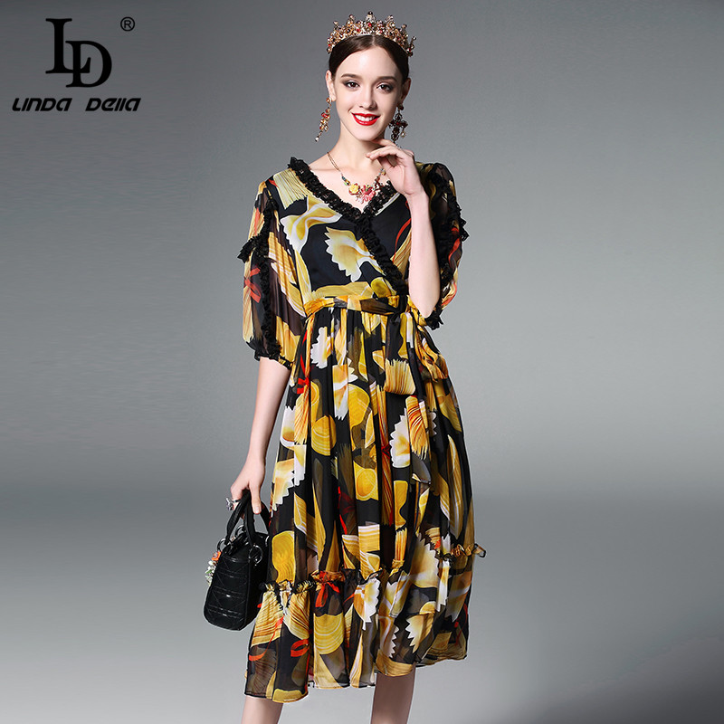 Buy Cheap High Quality New 2017 Fashion Runway Summer Dress Women's Sexy V-neck Lace Patchwork Vintage Chiffon Printed Dress