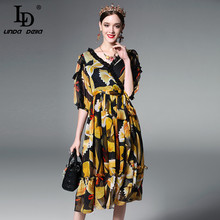 High Quality New 2017 Fashion Runway Summer Dress Women's Sexy V-neck Lace Patchwork Vintage Chiffon Printed Dress