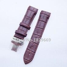 Nueva Brown del patrón del cocodrilo genuino pulseras cuero correas de reloj de acero cepillado de la mariposa broche para T035 22 mm 23 mm 24 mm