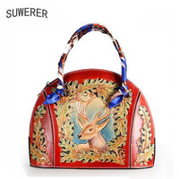 SUWERER женская сумка из натуральной кожи для женщин 2019 новые женские известные бренды Роскошные ручной работы резные цветочные дизайнерские